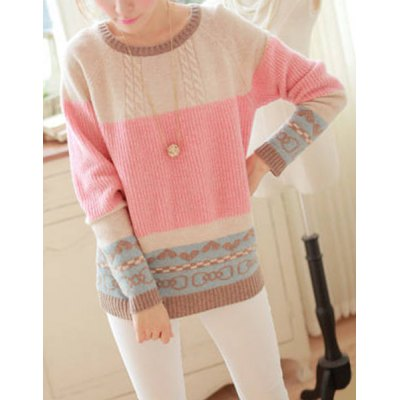 Sweet Scoop Neck Long Sleeve Bowknot and Heart Pattern Sweater For Women