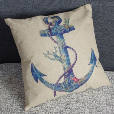 Charming Anchor Printed Square New Composite Linen Blend Pillow Case