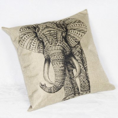 Charming Elephant Printed Square New Composite Linen Blend Pillow Case