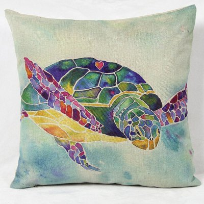 Charming Colorful Cartoon Animal Printed Square New Composite Linen Blend Pillow Case