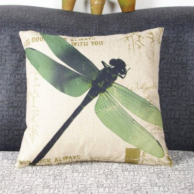 Modern Dragonfly Pattern Linen Decorative Pillowcase (Without Pillow Inner)
