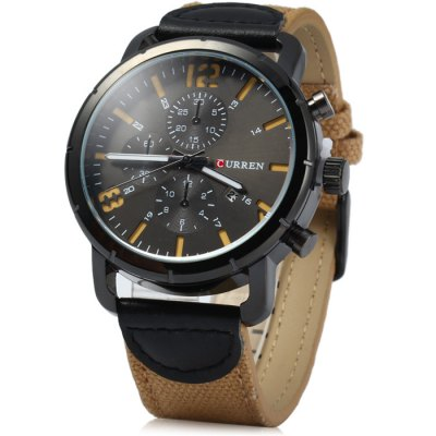 Curren 8194 Date Display Male Quartz Watch Canvas + Leather Strap