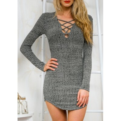Stylish Plunging Neck Criss-Cross Long Sleeve Sweater Dress For Women