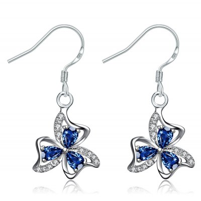Refreshing Style Floral Shape Zircon Silver Plated Drop Earrings for Ladies