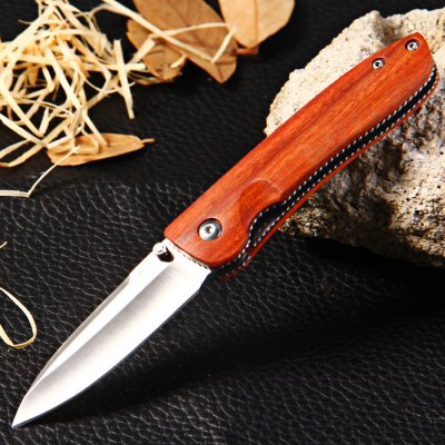 Enlan M028 Liner Lock Folding Knife Wooden Handle