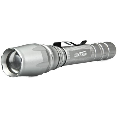 DECAKER T6 CREE XML T6 800LM Zooming LED FlashlightLED Flashlights<br>DECAKER T6 CREE XML T6 800LM Zooming LED Flashlight<br><br>Available Light Color: White<br>Battery Included or Not: Yes<br>Battery Quantity: 2 x 18650 battery (not included)<br>Battery Type: 18650<br>Beam Distance: 150-200m<br>Body Material: Aluminium Alloy<br>Brand: Decaker<br>Color: Silver<br>Emitters: XM-L T6<br>Emitters Quantity: 1<br>Feature: Pocket Clip, Lanyard, Cooling Slot of High Efficiency, Cool, Compact<br>Flashlight size: Mid size<br>Flashlight Type: Handheld<br>Function: Night Riding, Household Use, Hiking, EDC, Camping<br>Lens: Resin Lens<br>Light color: White light<br>Luminous Flux: 800LM<br>Model: T6<br>Package Contents: 1 x DECAKER T6 LED Flashlight<br>Package size (L x W x H): 24.00 x 6.00 x 6.00 cm / 9.45 x 2.36 x 2.36 inches<br>Package weight: 0.2690 kg<br>Power Source: Battery<br>Product size (L x W x H): 20.50 x 3.50 x 3.50 cm / 8.07 x 1.38 x 1.38 inches<br>Product weight: 0.1950 kg<br>Reflector: No<br>Switch Location: Tail Cap<br>Working Voltage: 4.2V<br>Zooming Function: Yes