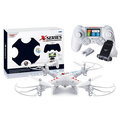 SJ X300 - 1CW WIFI RC QuadcopterRC Quadcopters<br>SJ X300 - 1CW WIFI RC Quadcopter<br><br>Battery: 3.7V 600mAh li-po battery<br>Built-in Gyro: Yes<br>Channel: 4-Channels<br>Control Distance: 100-300m<br>Detailed Control Distance: About 120m<br>Features: WiFi FPV<br>Flying Time: 9~10mins<br>Functions: With light, Up/down, Turn left/right, Roll, Camera, One Key Automatic Return, Forward/backward<br>Kit Types: RTF<br>Level: Beginner Level,Intermediate Level<br>Material: Plastic, Electronic Components<br>Motor Type: Brushed Motor<br>Night Flight: Yes<br>Package Contents: 1 x RC Quadcopter, 1 x Transmitter, 1 x USB Cable, 2 x Blade, 4 x Protection Frame, 1 x Screwdriver, 1 x 3.7V 600mAh Li-Po Battery, 1 x 0.3MP Camera, 1 x Cellphone Clip<br>Package size (L x W x H): 38.50 x 28.50 x 9.00 cm / 15.16 x 11.22 x 3.54 inches<br>Package weight: 0.700 kg<br>Remote Control: 2.4GHz Wireless Remote Control<br>Transmitter Power: 2 x 1.5V AA battery(not included)<br>Type: RC Simulators, Quadcopter