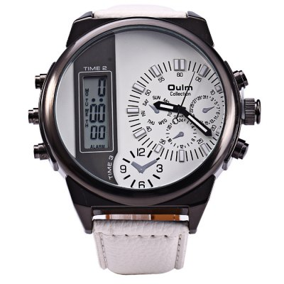 Oulm 3597 Men Quartz WatchMens Watches<br>Oulm 3597 Men Quartz Watch<br><br>Available Color: Black,Brown,Red,White<br>Band material: Leather<br>Brand: Oulm<br>Case material: Stainless Steel<br>Clasp type: Pin buckle<br>Display type: Analog-Digital<br>Movement type: Double-movtz<br>Package Contents: 1 x Oulm 3597 Watch<br>Package size (L x W x H): 29.00 x 7.00 x 2.30 cm / 11.42 x 2.76 x 0.91 inches<br>Package weight: 0.172 kg<br>Product size (L x W x H): 28.00 x 6.00 x 1.30 cm / 11.02 x 2.36 x 0.51 inches<br>Product weight: 0.122 kg<br>Shape of the dial: Round<br>Special features: Date, Decorating small sub-dials, Day, Alarm Clock<br>Style elements: Big dial<br>The band width: 2.5 cm / 0.98 inches<br>The dial diameter: 6.0 cm / 2.36 inches<br>The dial thickness: 1.3 cm / 0.51 inches<br>Watch style: Casual<br>Watches categories: Male table<br>Wearable length: 17.5 - 22 cm / 6.89 - 8.66 inches