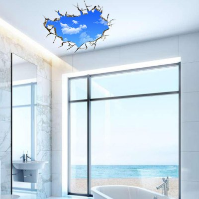 Blue Sky White Cloud Style 3D Stickers for Walls blue sky white cloud style 3d stickers for walls