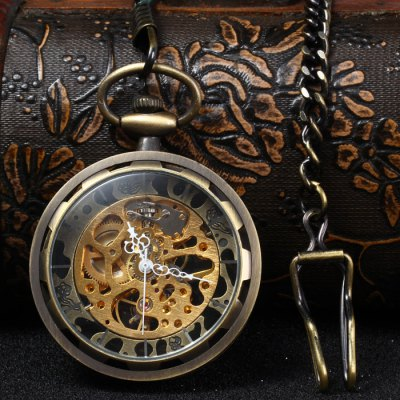 Hollow Out Mechanical Pocket Chain Watch with Clip