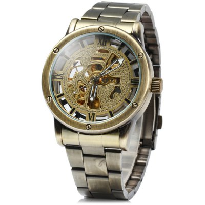 Jijia Men Automatic Mechanical Hollow-out Watch with Stainless Steel Band