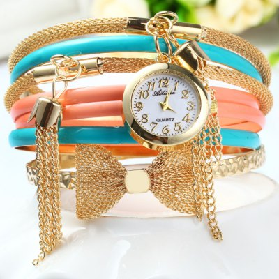 Ailisha Female Quartz Pendants Multilayer Chain Watch with Bowknot