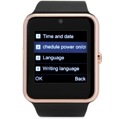 King Wear GT08 Smartwatch PhoneSmart Watch Phone<br>King Wear GT08 Smartwatch Phone<br><br>Additional Features: People, MP3, Browser, Sound Recorder, E-book, Bluetooth, Alarm<br>Battery: 1 x 350mAh<br>Bluetooth: Yes<br>Camera type: Single camera<br>Cell Phone: 1<br>CPU: MTK6261<br>English Manual : 1<br>External Memory: TF card up to 32GB (not included)<br>Frequency: GSM850/900/1800/1900MHz<br>Front camera: 0.08MP<br>IPS: Yes<br>Languages: English, French, Spanish, Portuguese, Italian, Dutch, Russian, Turkish, German, Polish<br>Micro USB Slot: Yes<br>Network type: GSM<br>Package size: 9.60 x 9.60 x 8.20 cm / 3.78 x 3.78 x 3.23 inches<br>Package weight: 0.250 kg<br>Picture format: PNG, JPEG<br>Product size: 4.70 x 4.20 x 1.18 cm / 1.85 x 1.65 x 0.46 inches<br>Product weight: 0.060 kg<br>RAM: 32GB<br>ROM: 64MB<br>Screen Protector: 1<br>Screen resolution: 240 x 240<br>Screen size: 1.54 inch<br>Screen type: Capacitive<br>SIM Card Slot: Single SIM(Micro SIM slot)<br>TF card slot: Yes<br>Type: Watch Phone<br>USB Cable: 1<br>Wireless Connectivity: GSM, Bluetooth