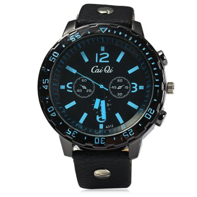 Cai Qi A312 Male Quartz Watch with Leather Band Double ScalesMens Watches<br>Cai Qi A312 Male Quartz Watch with Leather Band Double Scales<br><br>Available Color: Red,Blue,Yellow<br>Band material: Leather<br>Brand: CaiQi<br>Case material: Stainless Steel<br>Clasp type: Pin buckle<br>Display type: Analog<br>Movement type: Quartz watch<br>Package Contents: 1 x Cai Qi A312 Watch<br>Package size (L x W x H): 28 x 6 x 2 cm / 11.00 x 2.36 x 0.79 inches<br>Package weight: 0.114 kg<br>Product size (L x W x H): 27 x 5 x 1 cm / 10.61 x 1.97 x 0.39 inches<br>Product weight: 0.064 kg<br>Shape of the dial: Round<br>Special features: Decorating small sub-dials<br>The band width: 2.0 cm / 0.79 inches<br>The dial diameter: 5.0 cm / 1.97 inches<br>The dial thickness: 1.0 cm / 0.39 inches<br>Watch style: Casual<br>Watches categories: Male table<br>Wearable length: 17.5 - 22 cm / 6.89 - 8.66 inches