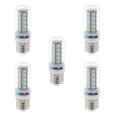5PCS BRELONG E27 5W SMD 5730 500Lm LED Corn BulbCorn Bulbs<br>5PCS BRELONG E27 5W SMD 5730 500Lm LED Corn Bulb<br><br>Available Light Color: White,Warm White<br>Brand: BRELONG<br>CCT/Wavelength: 3000-3500K,6000-6500K<br>Emitter Types: SMD 5730<br>Features: Long Life Expectancy, Low Power Consumption<br>Holder: E27,E14,G9<br>Luminous Flux: 500Lm<br>Output Power: 5W<br>Package Contents: 5 x BRELONG 5W LED Corn Bulb<br>Package size (L x W x H): 10.7 x 9.9 x 6.6 cm / 4.21 x 3.89 x 2.59 inches<br>Package weight: 0.230 kg<br>Product size (L x W x H): 9.7 x 3 x 3 cm / 3.81 x 1.18 x 1.18 inches<br>Product weight: 0.150 kg<br>Total Emitters: 36<br>Type: Corn Bulbs<br>Voltage (V): AC 220-240