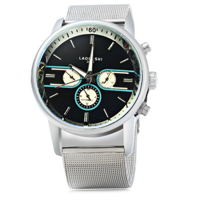 Laogeshi 398B Men Automatic Mechanical Watch Date Day DisplayMens Watches<br>Laogeshi 398B Men Automatic Mechanical Watch Date Day Display<br><br>Available Color: Black,White<br>Band material: Steel<br>Brand: Laogeshi<br>Case material: Stainless Steel<br>Clasp type: Pin buckle<br>Display type: Analog<br>Movement type: Automatic mechanical watch<br>Package Contents: 1 x Laogeshi 398B Watch, 1 x Rubber Band<br>Package size (L x W x H): 25.5 x 5.4 x 2.3 cm / 10.02 x 2.12 x 0.90 inches<br>Package weight: 0.166 kg<br>Product size (L x W x H): 24.5 x 4.4 x 1.3 cm / 9.63 x 1.73 x 0.51 inches<br>Product weight: 0.116 kg<br>Shape of the dial: Round<br>Special features: Date, Moving small three stitches, Day<br>The band width: 2.3 cm / 0.91 inches<br>The dial diameter: 4.4 cm / 1.73 inches<br>The dial thickness: 1.3 cm / 0.51 inches<br>Watch style: Business<br>Watches categories: Male table<br>Wearable length: 17 - 21 cm / 6.69 - 8.27 inches