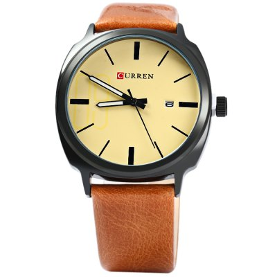 Curren 8212 Date Display Men Quartz WatchMens Watches<br>Curren 8212 Date Display Men Quartz Watch<br><br>Available Color: Black,White,Brown,Yellow<br>Band material: Leather<br>Brand: Curren<br>Case material: Stainless Steel<br>Clasp type: Pin buckle<br>Display type: Analog<br>Movement type: Quartz watch<br>Package Contents: 1 x Curren 8212 Watch<br>Package size (L x W x H): 26 x 5 x 2 cm / 10.22 x 1.97 x 0.79 inches<br>Package weight: 0.1 kg<br>Product size (L x W x H): 25 x 4 x 1 cm / 9.83 x 1.57 x 0.39 inches<br>Product weight: 0.050 kg<br>Shape of the dial: Round<br>Special features: Date<br>The band width: 2.0 cm / 0.79 inches<br>The dial diameter: 4.0 cm / 1.57 inches<br>The dial thickness: 1.0 cm / 0.39 inches<br>Watch style: Fashion<br>Watches categories: Male table<br>Wearable length: 17 - 21 cm / 6.69 - 8.27 inches