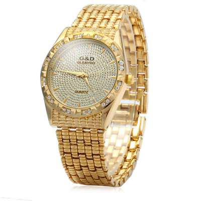GND Male Diamond Quartz Watch with Stainless Steel Band