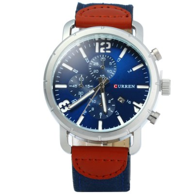 Curren 8194 Date Display Male Quartz Watch Canvas + Leather StrapMens Watches<br>Curren 8194 Date Display Male Quartz Watch Canvas + Leather Strap<br><br>Available Color: Black,Blue,Brown,Gray,Red,Silver,White<br>Band material: Canvas + Leather<br>Brand: Curren<br>Case material: Stainless Steel<br>Clasp type: Pin buckle<br>Display type: Analog<br>Movement type: Quartz watch<br>Package Contents: 1 x Curren 8194 Quartz Watch<br>Package size (L x W x H): 27.00 x 5.50 x 2.00 cm / 10.63 x 2.17 x 0.79 inches<br>Package weight: 0.120 kg<br>Product size (L x W x H): 26.00 x 4.50 x 1.00 cm / 10.24 x 1.77 x 0.39 inches<br>Product weight: 0.070 kg<br>Shape of the dial: Round<br>Special features: Date, Decorating small sub-dials<br>The band width: 2.0 cm / 0.79 inches<br>The dial diameter: 4.5 cm / 1.77 inches<br>The dial thickness: 1.0 cm / 0.39 inches<br>Watch style: Fashion<br>Watches categories: Male table<br>Wearable length: 17.5 - 22 cm / 6.89 - 8.66 inches