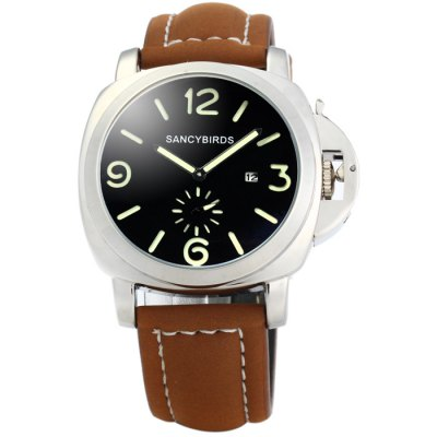SANCYBIRDS Men Quartz WatchMens Watches<br>SANCYBIRDS Men Quartz Watch<br><br>Band material: Leather<br>Brand: SANCYBIRDS<br>Case material: Stainless Steel<br>Clasp type: Pin buckle<br>Display type: Analog<br>Movement type: Quartz watch<br>Package Contents: 1 x SANCYBIRDS Watch<br>Package size (L x W x H): 27.5 x 6 x 2.2 cm / 10.81 x 2.36 x 0.86 inches<br>Package weight: 0.134 kg<br>Product size (L x W x H): 26.5 x 5 x 1.2 cm / 10.41 x 1.97 x 0.47 inches<br>Product weight: 0.084 kg<br>Shape of the dial: Round<br>Special features: Luminous, Moving small one stitch, Date<br>The band width: 2.2 cm / 0.87 inches<br>The dial diameter: 5.0 cm / 1.97 inches<br>The dial thickness: 1.2 cm / 0.47 inches<br>Watch color: Golden and Black, Golden and Brown, Black, Brown, Silver and Black, Silver and Brown<br>Watch style: Fashion<br>Watches categories: Male table<br>Wearable length: 17.5 - 22 cm / 6.89 - 8.66 inches