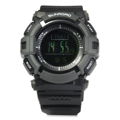 SUNROAD FR821B Multi-purpose Sports WatchOther Camping Gadgets<br>SUNROAD FR821B Multi-purpose Sports Watch<br><br>Best Use: Climbing,Cycling,Camping,Hiking,Mountaineering,Traveling,Running<br>Brand: SUNROAD<br>Color: Black<br>Features: Waterproof, Alarm, 1/100s Stopwatch, Universal Time, Date Display<br>Material: Rubber, Plastic<br>Package Contents: 1 x Sports Watch, 1 x Cleaning Cloth, 1 x CR0232 Battery, 1 x Chinese-English User Manual<br>Package Dimension: 10 x 8.8 x 9.7 cm / 3.93 x 3.46 x 3.81 inches<br>Package weight: 0.212 kg<br>Product Dimension: 26.5 x 5 x 1.8 cm / 10.41 x 1.97 x 0.71 inches<br>Product weight: 0.059 kg