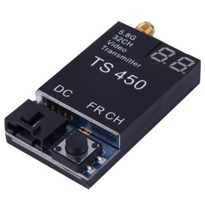 TS450 5.8G 450mW 32CH Wireless Video Transmitter Module for FPV ProjectReceiver &amp; Transmitter<br>TS450 5.8G 450mW 32CH Wireless Video Transmitter Module for FPV Project<br><br>Camera Gimbals: Brushless Gimbals<br>FPV Equipments: Transmitter, AV Receiver, AV Transmitter<br>Package Contents: 1 x Transmitter, 1 x Antenna, 1 x Power Connecting Cable, 1 x Box<br>Package size (L x W x H): 10.5 x 9 x 3 cm / 4.13 x 3.54 x 1.18 inches<br>Package weight: 0.120 kg