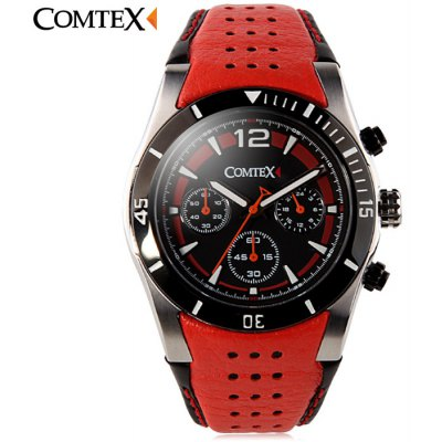 COMTEX S6211G Genuine Leather Band Male Quartz Watch
