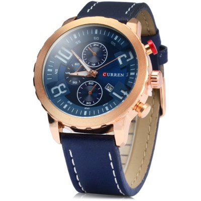 Curren 8193 Date Display Male Quartz Watch with Leather Strap