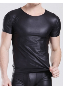 Fitted Round Neck Sexy Short Sleeve PU-Leather Men's T-Shirt
