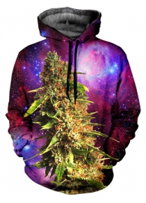 Cool 3D Starry Sky Cannabin Print Front Pocket Drawstring Men's Loose Cool Hoodie