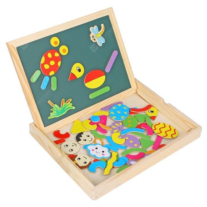 WDB - 01 Wooden Double Face Drawing Board with Magnetic Puzzle 70Pcs Toy Kid Gift