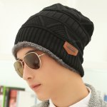 cheap Stylish Label Embellished Triangle Jacquard Knitted Beanie For Men