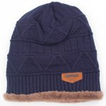 Stylish Label Embellished Triangle Jacquard Knitted Beanie For Men photo