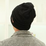 Stylish Label Embellished Triangle Jacquard Knitted Beanie For Men deal