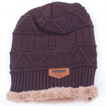 best Stylish Label Embellished Triangle Jacquard Knitted Beanie For Men