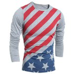 cheap Vogue Slimming Round Neck American Flag Print Color Block Men's Long Sleeves T-Shirt