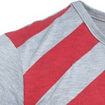 Vogue Slimming Round Neck American Flag Print Color Block Men's Long Sleeves T-Shirt for sale