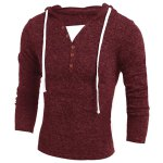 Single-Breasted Drawstring Hooded Solid Color Slimming Long Sleeves Men's Thicken Sweater