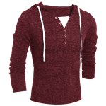 cheap Single-Breasted Drawstring Hooded Solid Color Slimming Long Sleeves Men's Thicken Sweater