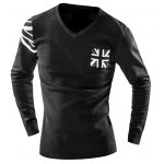 cheap One Pocket Union Jack Intarsia Geometric Pattern Slimming V-Neck Long Sleeves Men's Sweater