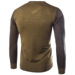 cheap Personality V-Neck Stripes Argyle Intarsia Hit Color Slimming Long Sleeves Men's Cashmere Blend Sweater