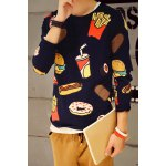 Buy Round Neck Funny Chips Hamburger Cola Print Long Sleeve Men's T-Shirt 2XL SAPPHIRE BLUE