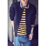 Buy Special Letters Print Striped Rib Spliced Color Block Stand Collar Long Sleeves Men's Slimming Jacket XL