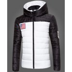 Buy Classic Color Block Spliced American Flag Embroidered Hooded Long Sleeves Slimming Men's Coat 3XL