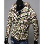 Buy Slimming Hooded Patch Pocket French Front Back Slit Long Sleeves Men's Camo Coat ARMY GREEN