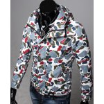Buy Slimming Hooded Patch Pocket French Front Back Slit Long Sleeves Men's Camo Coat BLUE
