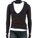 Buy Simple Hooded Chest Hollow Solid Color Slimming Men's Long Sleeves T-Shirt XL