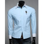 Buy Classic Color Block Spliced Letters Embroidered Slimming Shirt Collar Long Sleeves Men's M