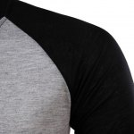Classic Color Block Splicing Round Neck Long Sleeves Men's Slimming T-Shirt deal
