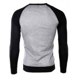 cheap Classic Color Block Splicing Round Neck Long Sleeves Men's Slimming T-Shirt